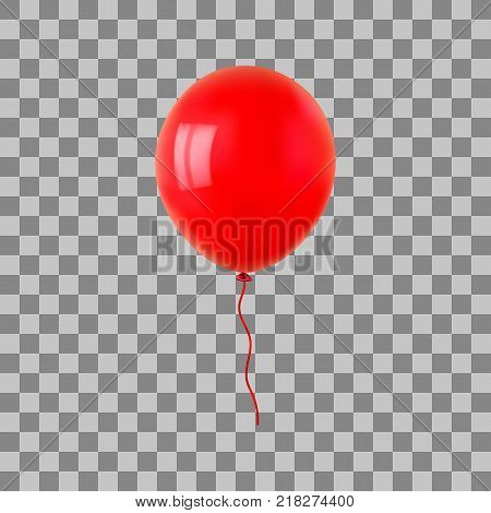 Red flying helium balloon. For decoration party, birthday, new year and celebrations. Realistic style isolated on transparent background. 3d. Stock - Vector illustration for your design and business