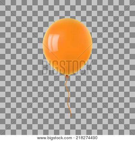 Orange flying helium balloon. For decoration party, birthday, new year and celebrations. Realistic style isolated on transparent background. 3d. Stock - Vector illustration for your design and business