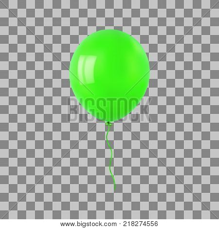 Green flying helium balloon. For decoration party, birthday, new year and celebrations. Realistic style isolated on transparent background. 3d. Stock - Vector illustration for your design and business