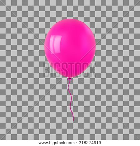 Pink flying helium balloon. For decoration party, birthday, new year and celebrations. Realistic style isolated on transparent background. 3d. Stock - Vector illustration for your design and business
