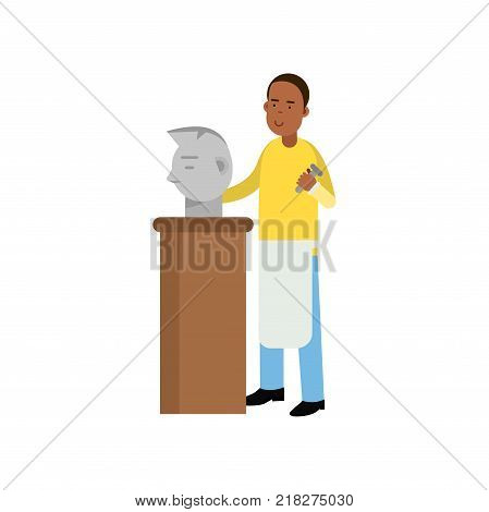 Young man sculptor at work. Male artist holding hammer and carving sculpture stone head. Craft hobby and creative profession concept. Colorful cartoon flat design character, vector isolated on white.