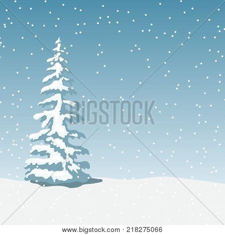 Winter landscape with x-mas tree, snowfall at twilight. Vector illustration. Mist, snowflakes, snowbank. For prints, web background
