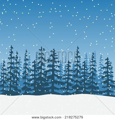 christmas Landscape with silhouette of forest at twilight. Sky, wood, trees, firs, snowfall, sky, distant forest. Shadows. Vector illustration. For prints posters wallpapers web background