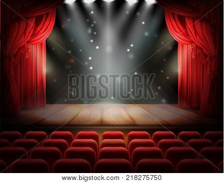 Open red curtain and empty illuminated theatrical stage with falling sparks, confetti realistic vector. Grand opening concept, performance or event premiere poster, announcement banner template