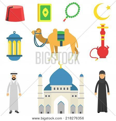National Muslim cultural symbols. Koran, rosary, lantern, camel, mosque, hookah, fez, Arabian people in traditional clothes. Flat vector icons. Cartoon illustration isolated on white background