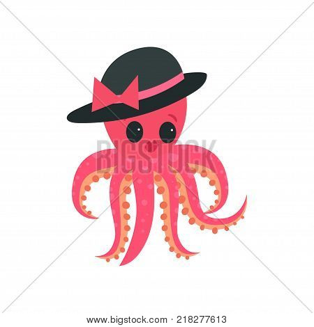 Illustration of pink octopus with plump lips and big shiny eyes. Cartoon mollusk character in elegant black hat with bow. Design for network sticker, card or kids print. Isolated vector in flat style. poster