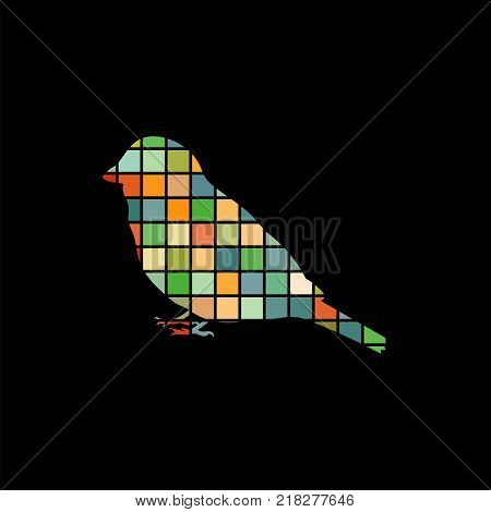 Sparrow bird mosaic color silhouette animal background black. Vector Illustrator