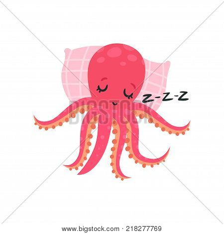 Cartoon pink octopus sleeping on soft pillow. Adorable cartoon character of mollusk with six tentacles. Vector illustration isolated on white. Flat design for emoji sticker, greeting card or print.