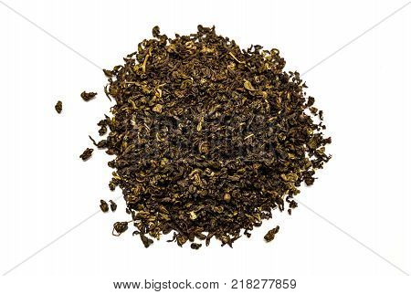 Tea on white background, isolated, oolong, leaves, leaf
