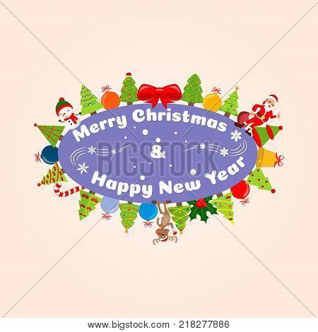 Christmas illustration Happy Christmas companions. Santa Claus, Snowman, Reindeer and many christmas trees. vector illustration