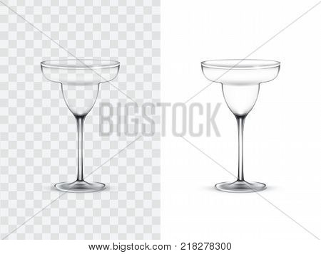 Realistic margarita glasses, vector illustration isolated on white and transparent background. Mock up, template of glassware for cocktail