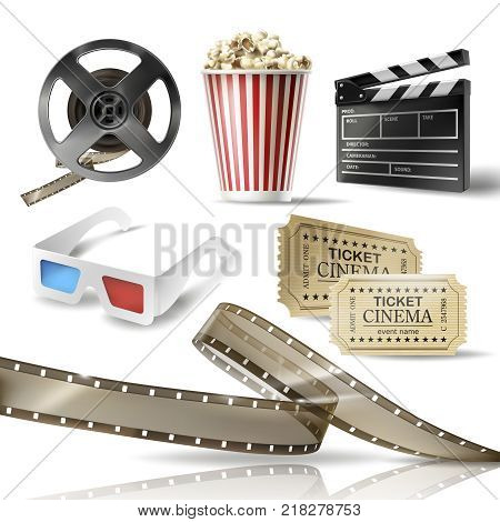 Cinema set of 3D realistic objects cardboard bucket with popcorn, reel, tape, glasses, movie tickets and clapperboard. Vector colorful design elements of film industry isolated on white background