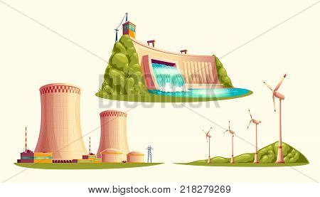 Alternative energy sources, concept of environmental protection, set of vector cartoon isolated on white background. Hydroelectric power plant with dam, wind turbines and nuclear power station
