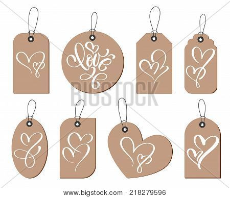 Kraft gift tags with the inscription love and two heart. Collection of hand drawn cute Valentines Day, marriage, wedding, birthday, love, romantic theme.