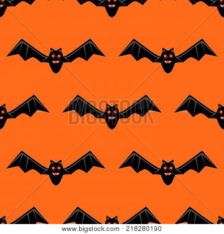 Seamless pattern with bats.  bats isolated on orange background. Silhouette of flying bat. Pattern for Hallowmas or Halloween. Mood of magic and sorcery.