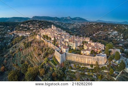 Aerial view on Saint Paul de Vence fortified medieval village Alpes-Maritimes France