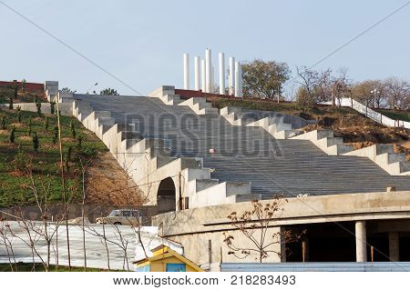 Construction Of Concrete Staircase On City Embankment. Staircase Is Upward.