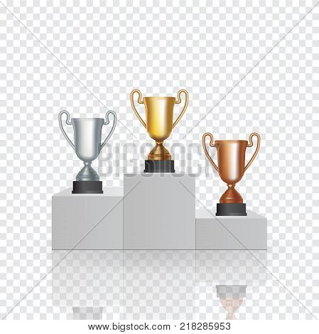 Pedestal with the cup winner of the first Gold , the second Silver and the third Bronze place on transparent background. Vector Illustration. EPS10