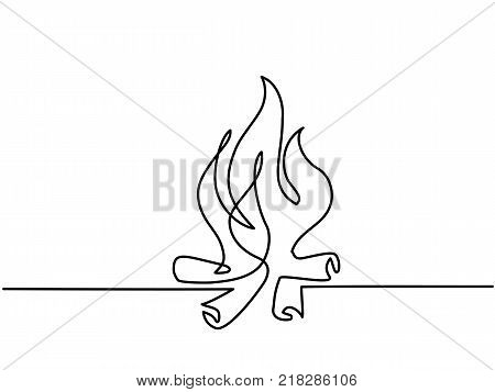 Continuous line drawing. Fire outline icons on white background. Vector illustration