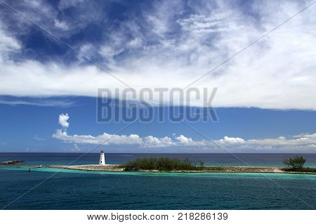 Lighthouse on Paradise Island located at Nassau Bahamas