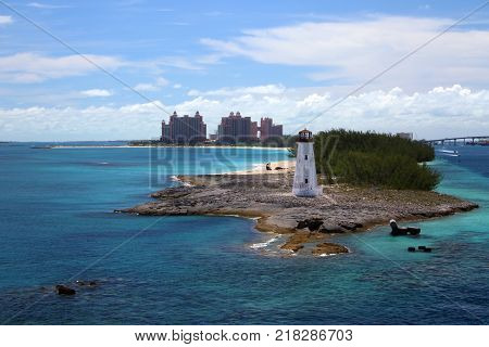 Scenic view of Nassau, Bahamas, the cruise port and Paradise Island