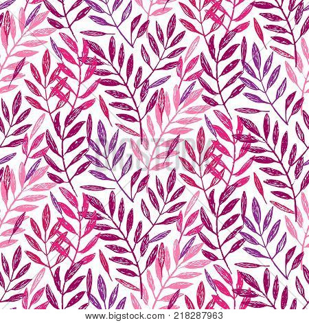 Tropical palm leaves, seamless foliage pattern. Vector illustration. Tropical jungle palm tree background in pink and purple colors