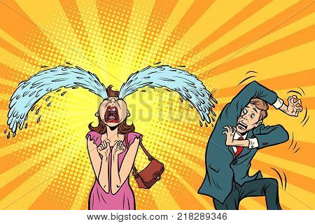 Whimsical weeping woman and funny fright men. The husband and wife. Comical couple. Comic book cartoon pop art retro illustration