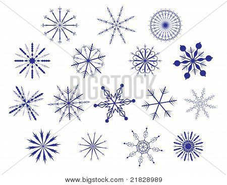 vector set of many different blue snowflakes poster