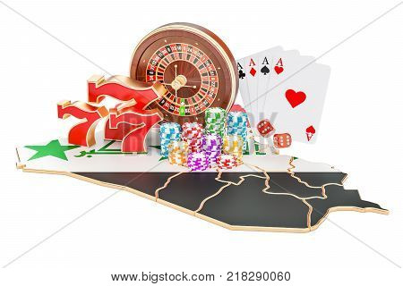 Casino and gambling industry in Iraq concept 3D rendering isolated on white background