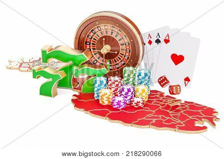 Casino and gambling industry in Malta concept 3D rendering isolated on white background