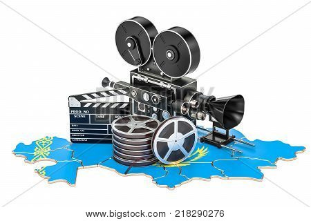 Kazakh cinematography film industry concept. 3D rendering isolated on white background