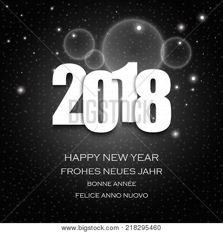 New Year wishes with numbers and dark abstract background vector eps 10