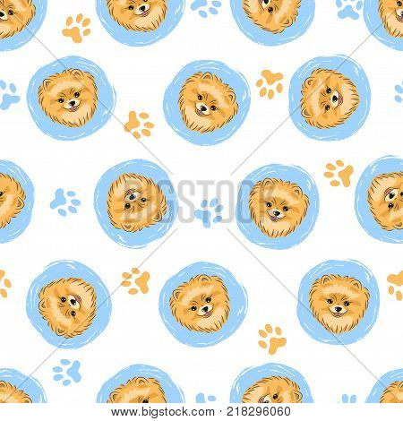 Seamless pattern with cute pomeranian. Vector circles background with dogs.
