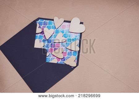 Valentine day Love Blue Envelope with Wooden