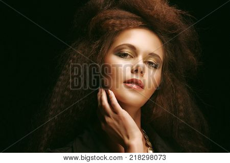 Beautiful young woman with magnificent hairdo poster
