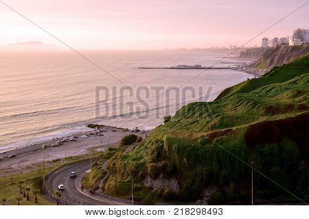 Coastline in the south of Lima, Peru