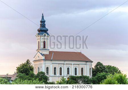 orthodox church monastery chapel on village hill
