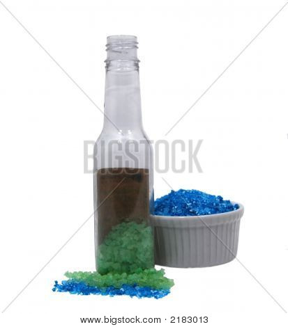 Green And Blue Sea Salts With Bottle
