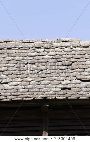 old rural house tile. ethno house roof tiles
