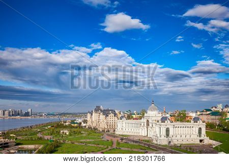 Kazan citycsape with Kazanka River and Ministry of Agriculture (Farmer's Palace) as viewed from the Kazan Kremlin. Kazan is the capital and largest city of Tatarstan Republic, Russia