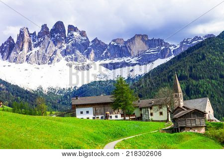 Imressive Dolomites mountains and traditional villages. North of Italy