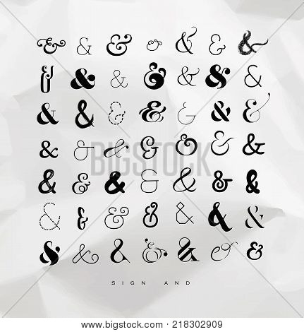 Set of hand drawn decoration ampersands for letters and invitation drawing on crumpled paper background