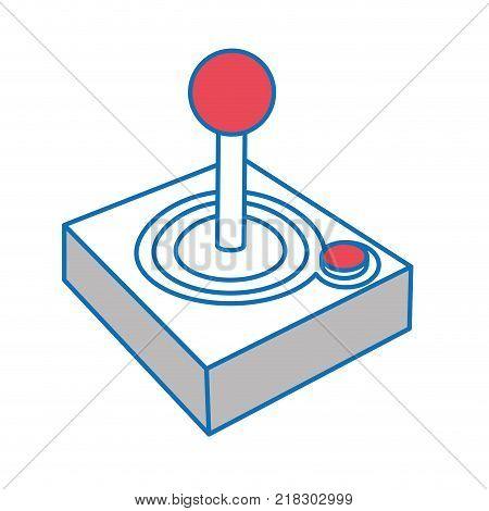 Joysitck of videogame play retro and technology theme Isolated design Vector illustration