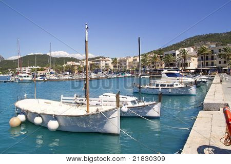 Andratx port marina with llaut boats in Majorca balearic islands