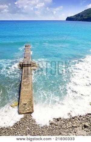 Andratx Camp de Mar in Majorca Balearic Islands stone pier beach