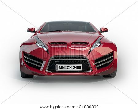 Red sports car isolated on white background. Non-branded concept car.