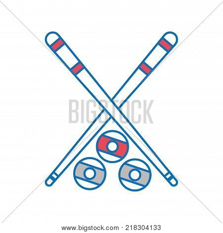 Cue and ball of billiard sport and game theme Isolated design Vector illustration
