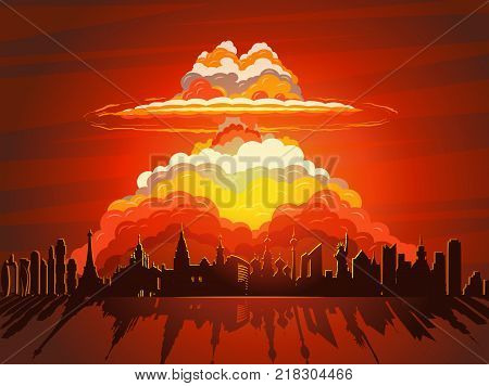 Nuclear explosion, vector illustration. Nuclear war, atom bomb falling on Earth
