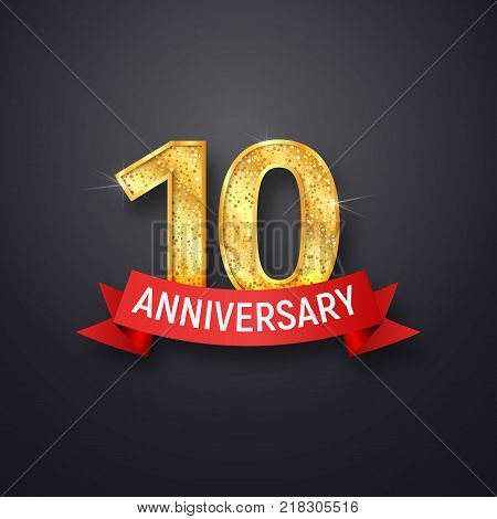 Golden number tenth anniversary with red ribbon on dark background. Ten years isolated template of celebration vector illustration