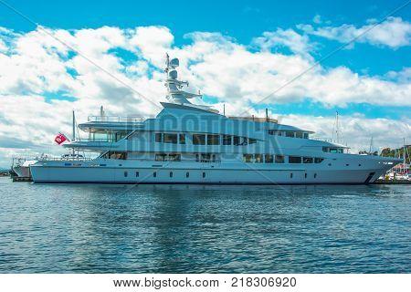Motor Yacht at Dock in Seattle's Elliott Bay